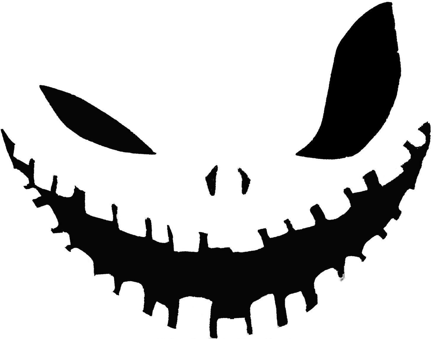 Big Eye Wicked Smile Pumpkin Face Free Carving Template